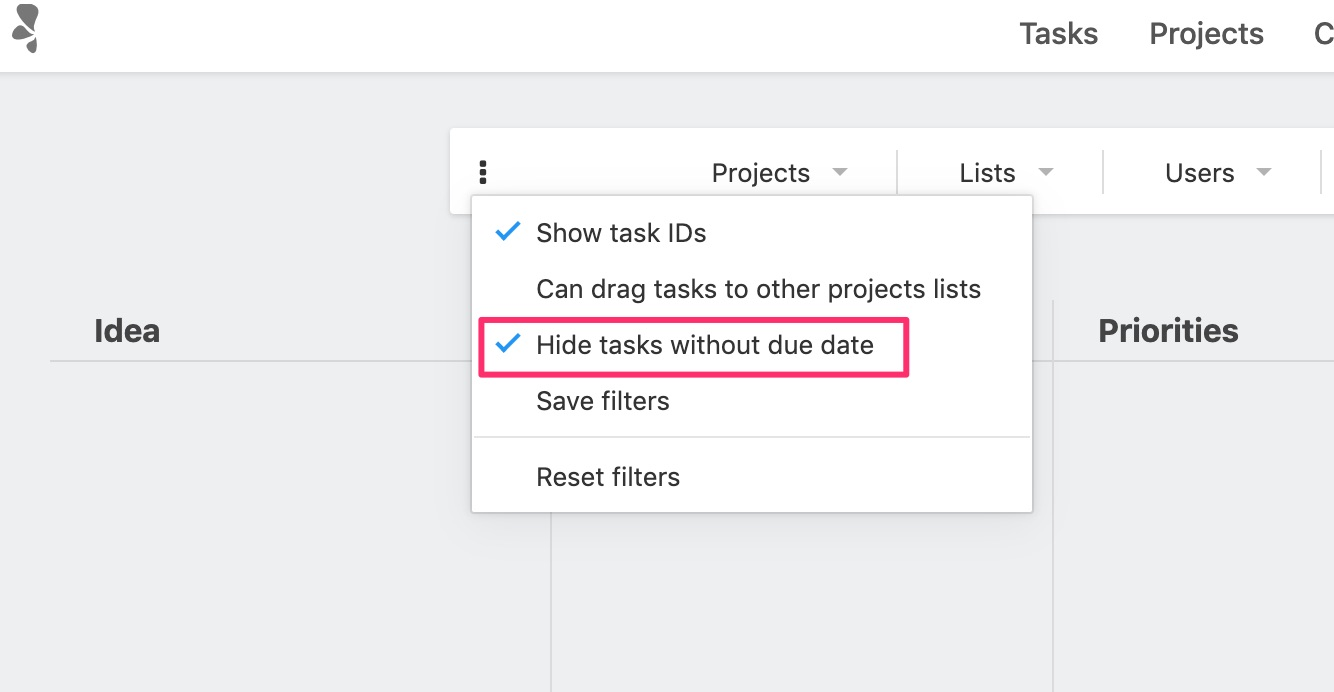 Hide tasks without due date