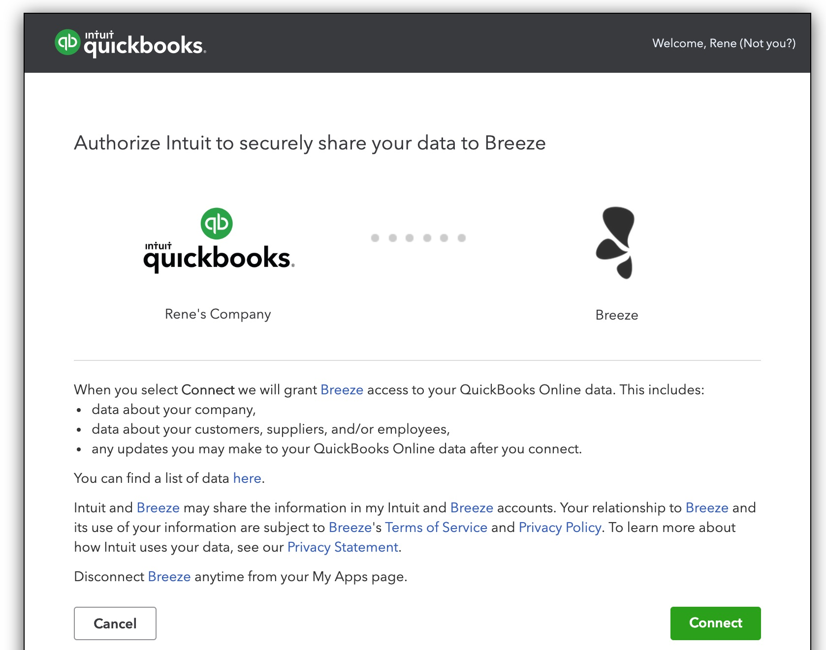 QuickBooks authorization