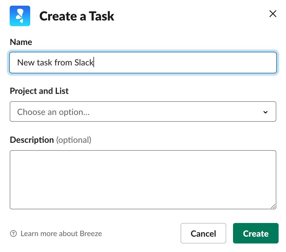 Slack task dialog