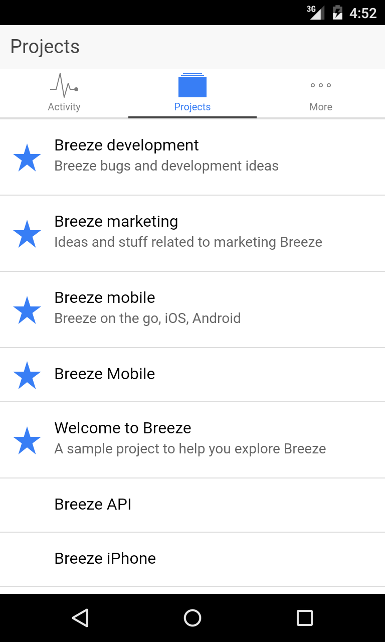 Breeze on Android project board