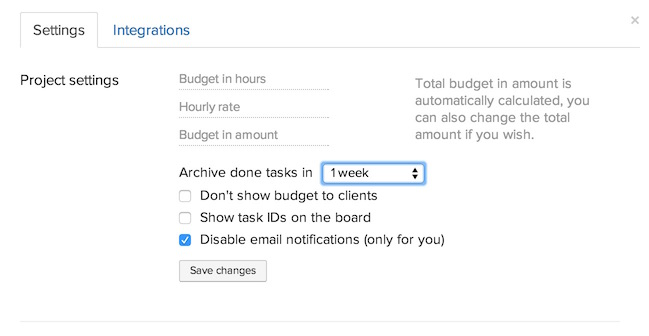 Automatically archive tasks & disable email notifications