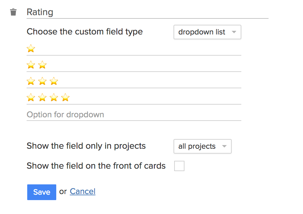 Custom field with emoji