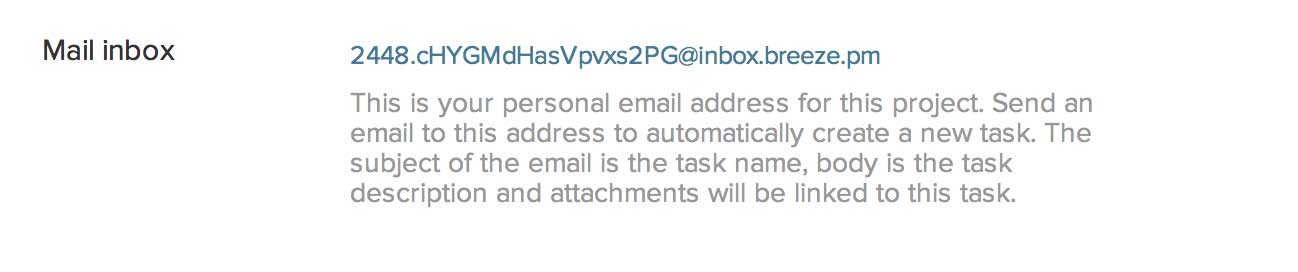 Task email inbox