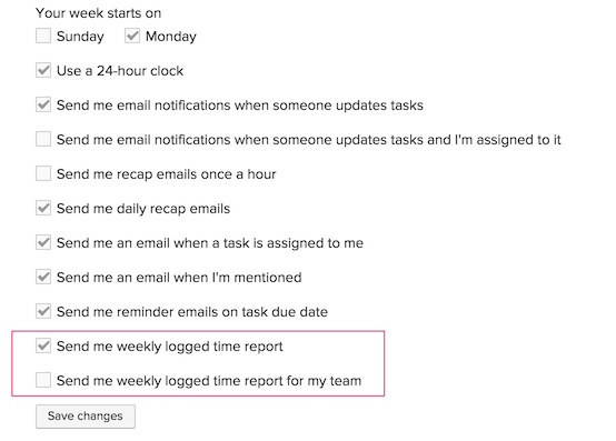 Weekly email notification settings
