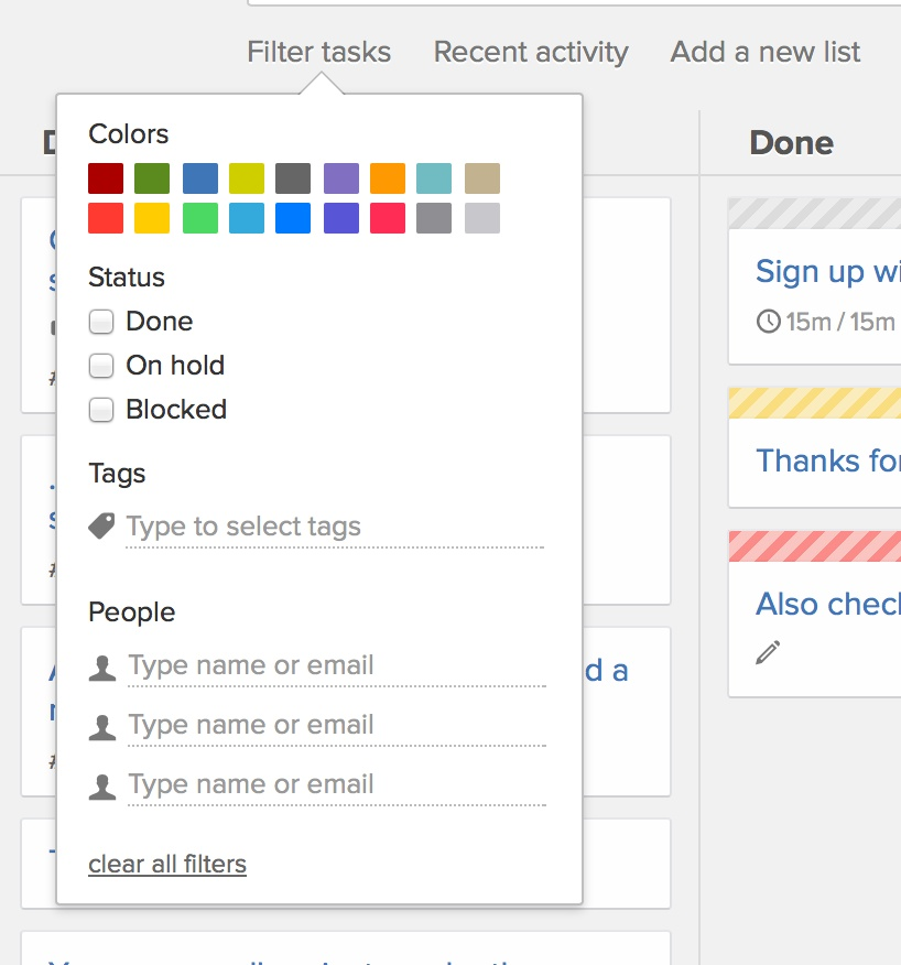 Project board filter tasks