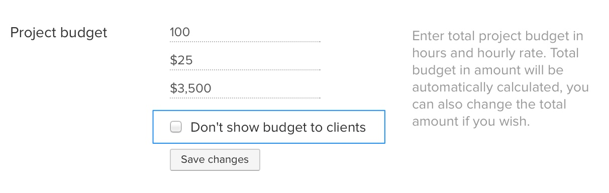 Hide project budget from client