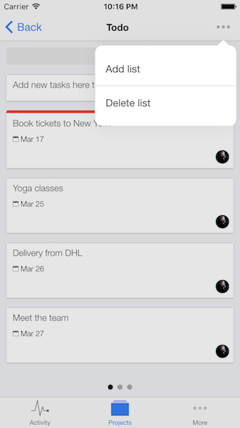 Add new task lists