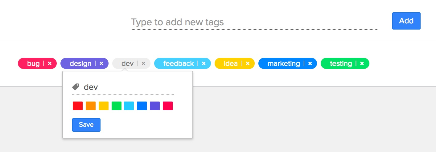 Manage tag colors
