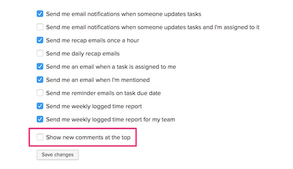 Task comments at the top