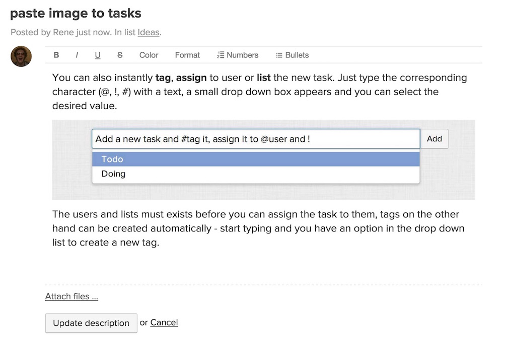 Paste image to tasks and comments