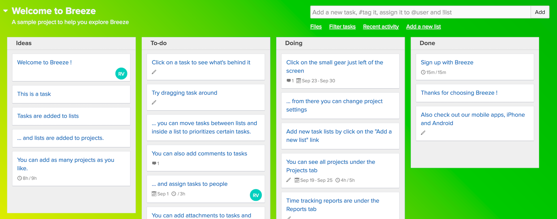 Better project management with colors - Breeze