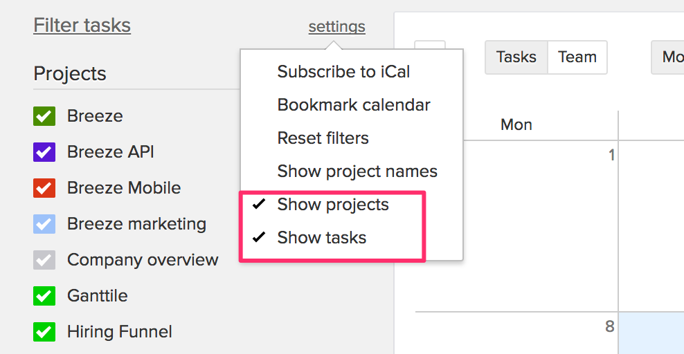 Show projects in the calendar