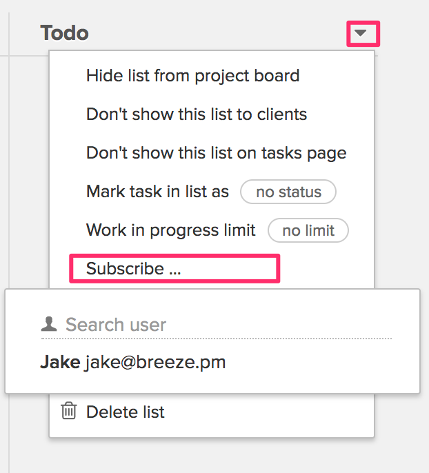 Subscribe to task lists