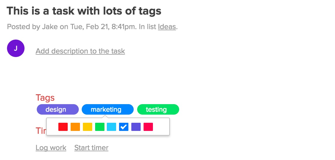 Task tag colors