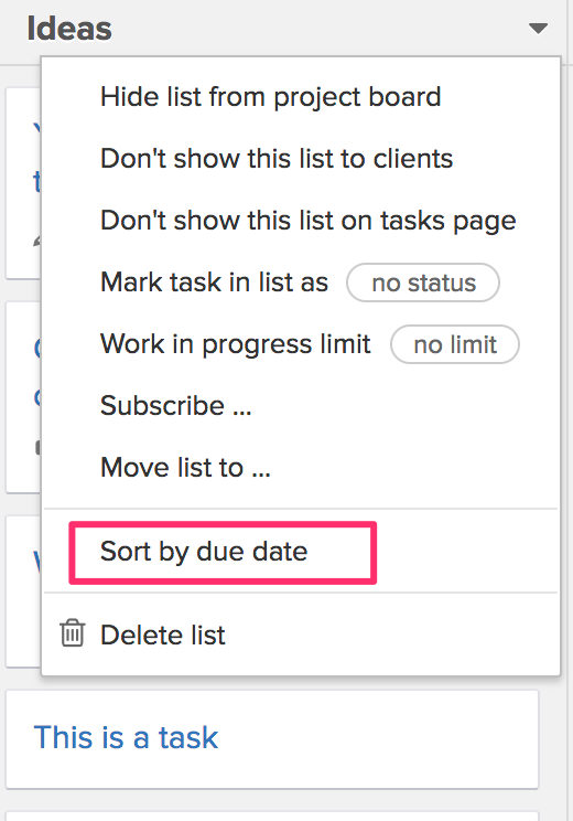 Sort task lists by due date