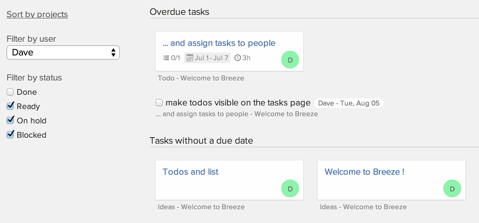 Todos on the tasks page