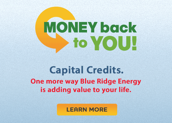 Money Back to You! Capital Credits. One more way Blue Ridge Energy is adding value to your life.