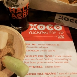 Delicious evening with @XocoWickerPark @HalfAcreBeer Yucatan Pop-Up #craftbeer #beerdinner #beergeek #xoco #beerpairing #brewvu