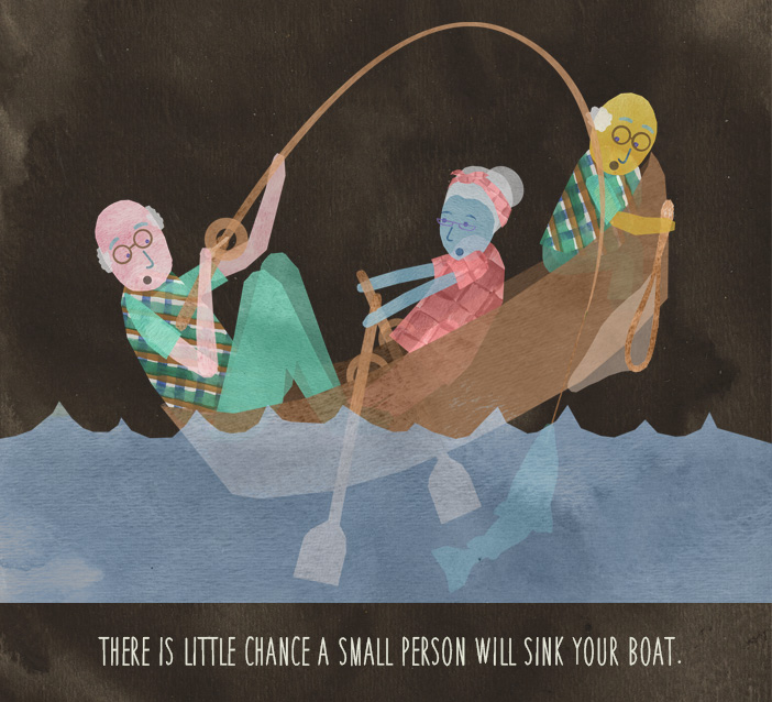 There is little chance a small person will sink your boat.