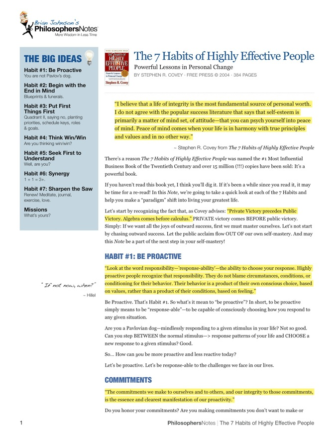 Essays on the 7 habits of highly effective people
