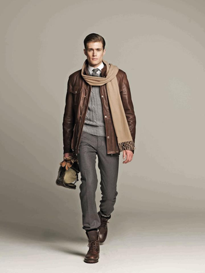 Semi Formal Leather Jacket and Scarf | xOutfits.com
