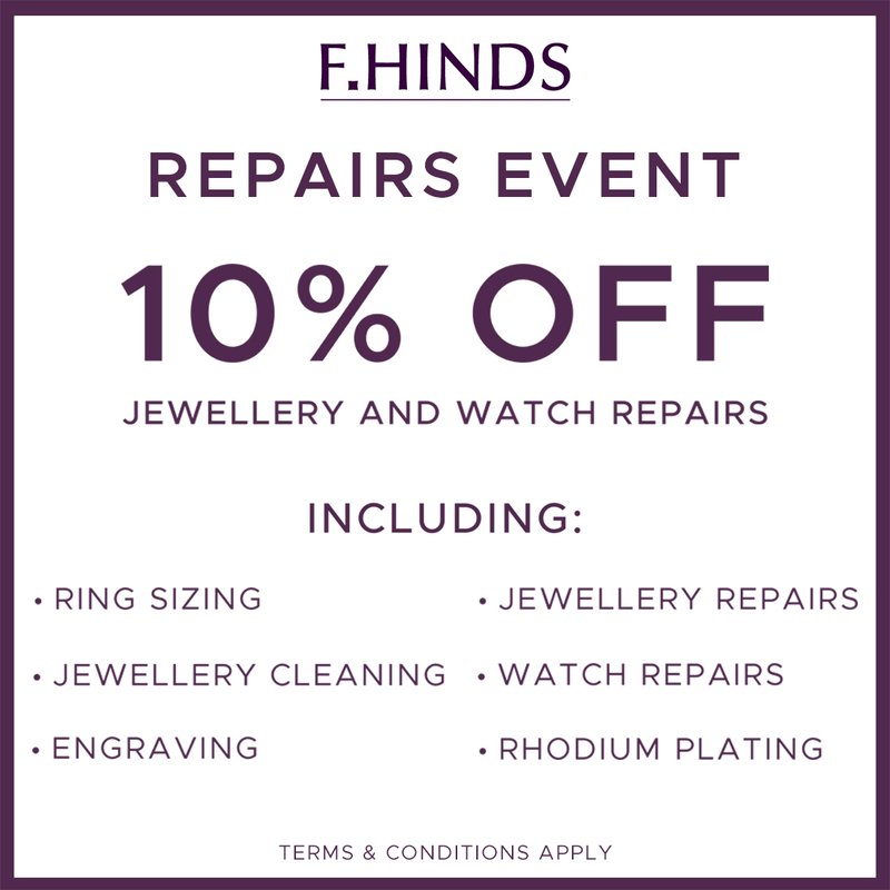 F.Hinds 10% off repairs