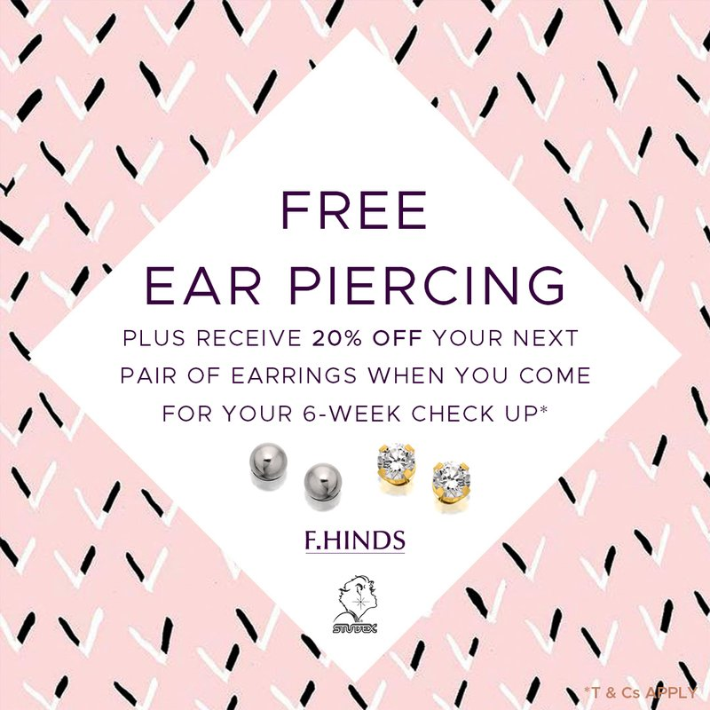 Free ear piercing at F.Hinds
