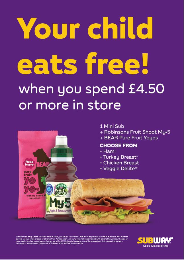 Subway kids eat free offer