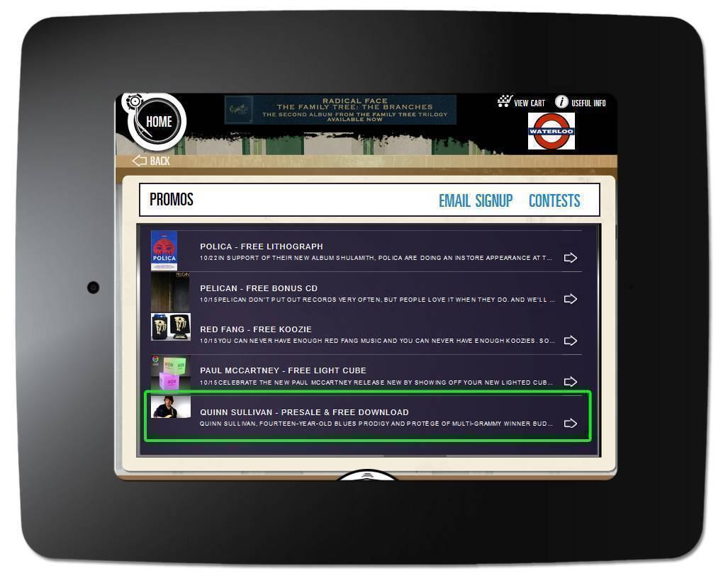 MP3 - Kiosk Promo Page