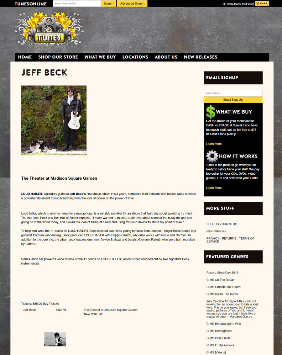 Jeff Beck - Web Event Page