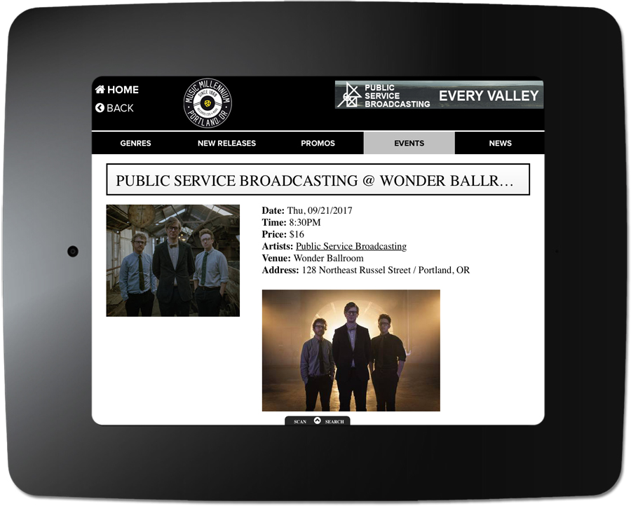 Public Service Broadcasting - Kiosk Event Page