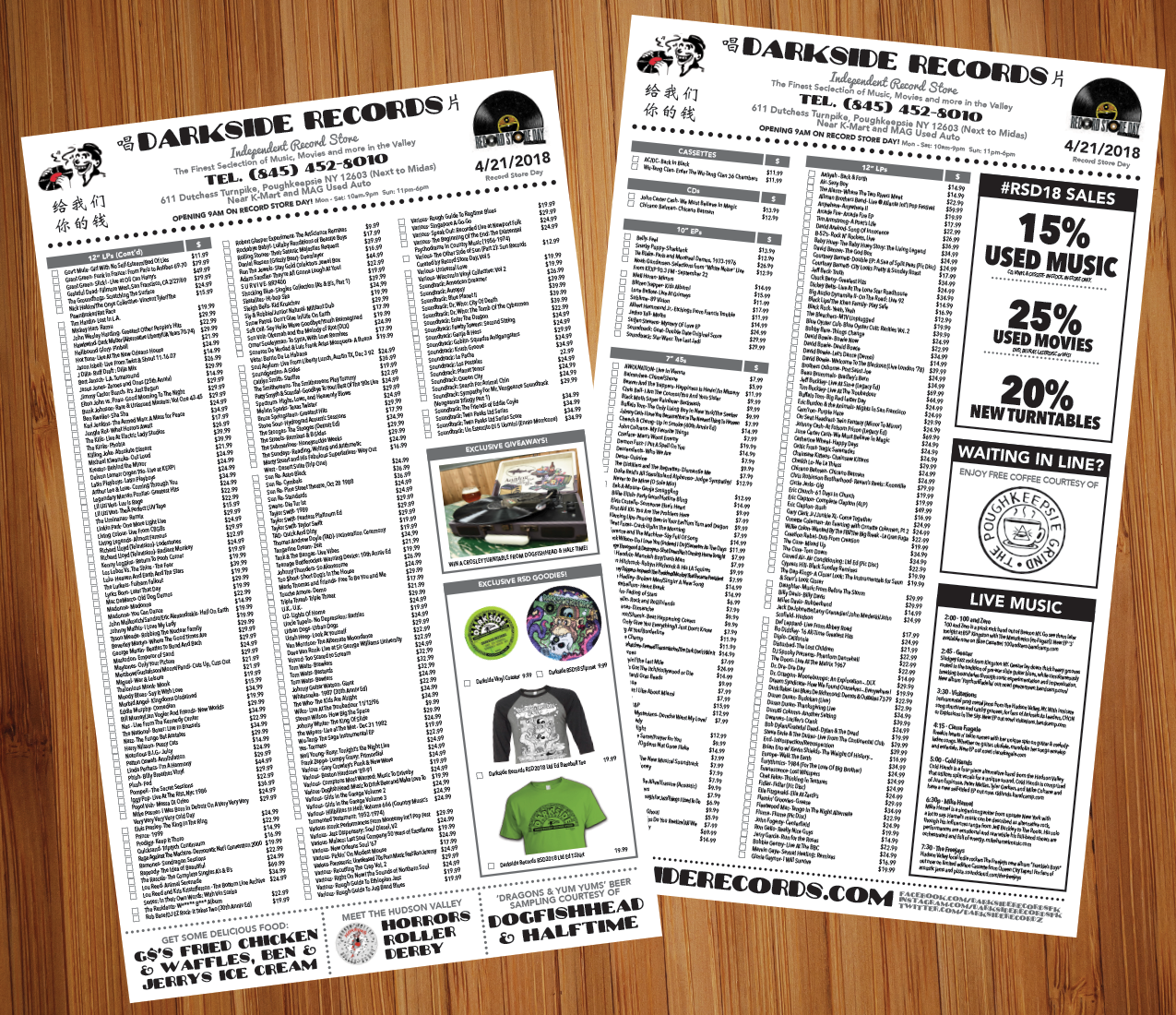 Darkside Records Record Store Day Menu is live!