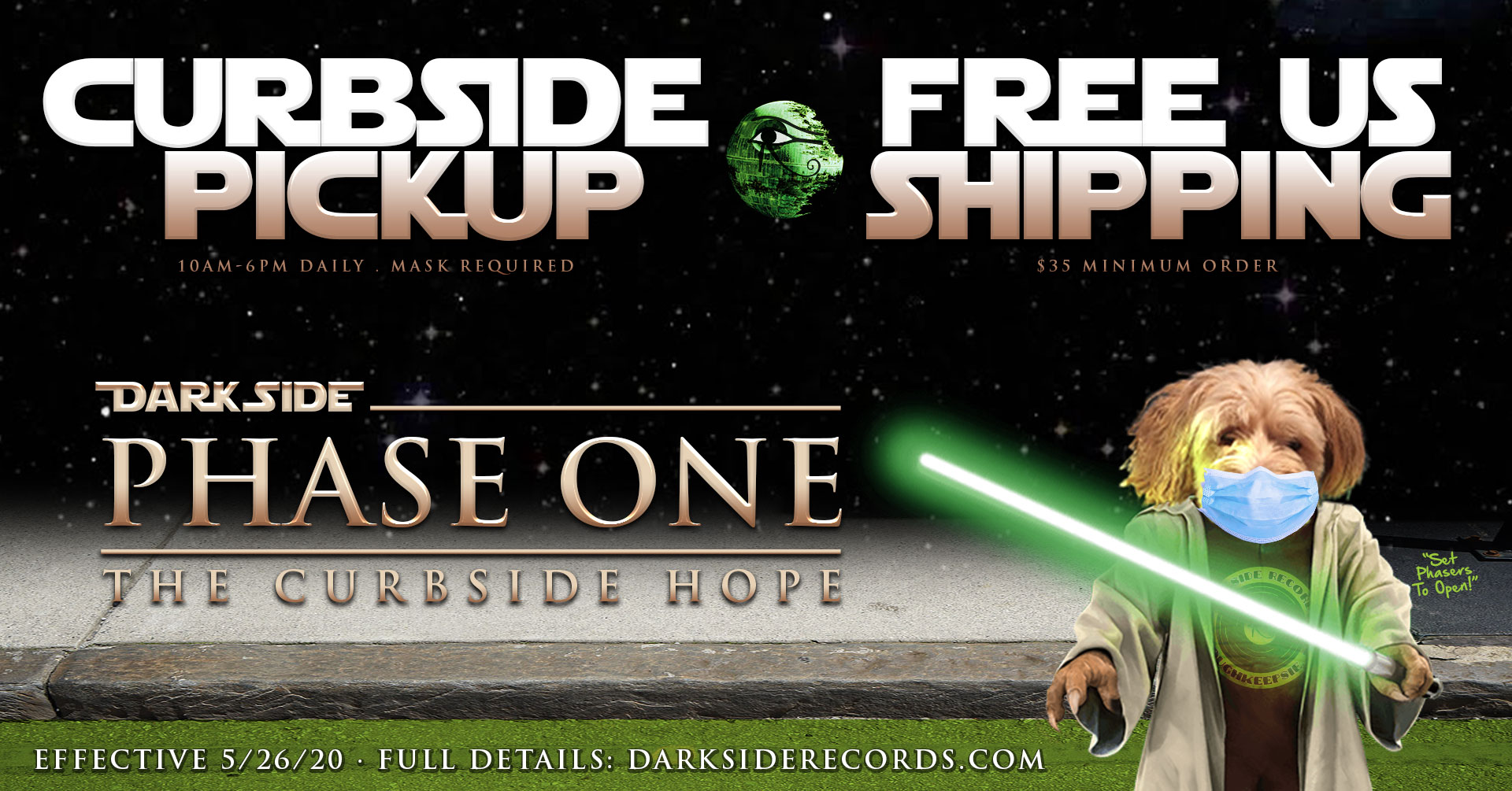curbside pickup available at darkside records