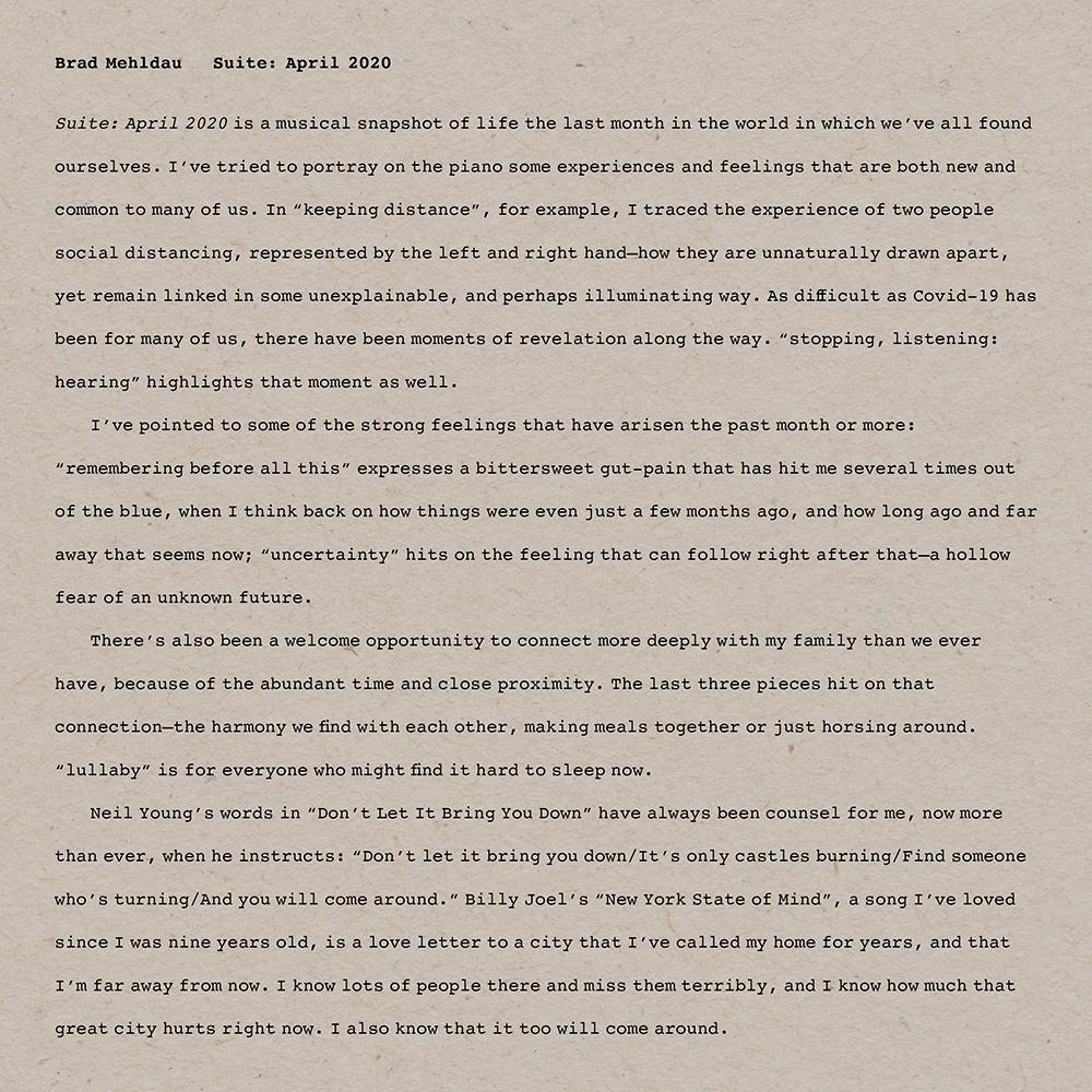 Brad Mehldau Suite April 2020 Lp Vintage Vinyl