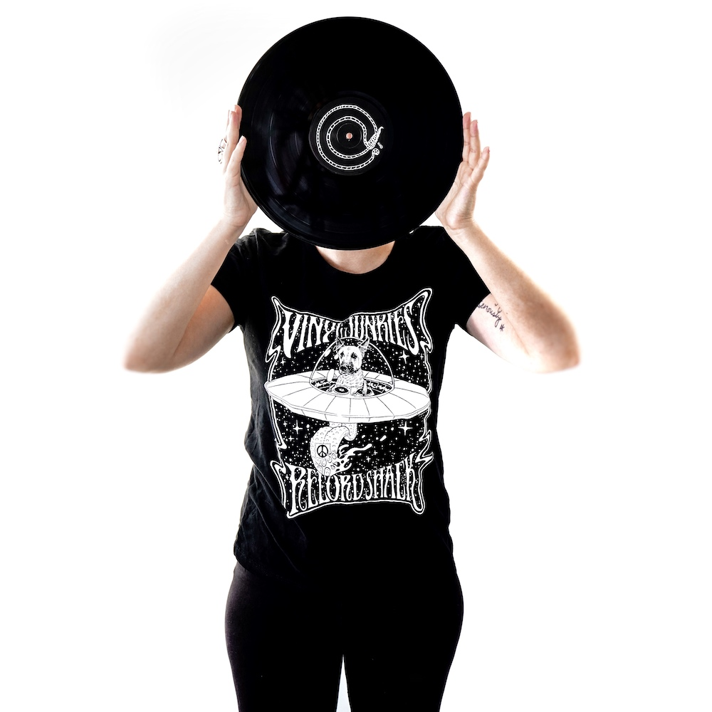 Vinyl Junkies - Buddy in Space - Women's Black T-Shirt [a. Small]