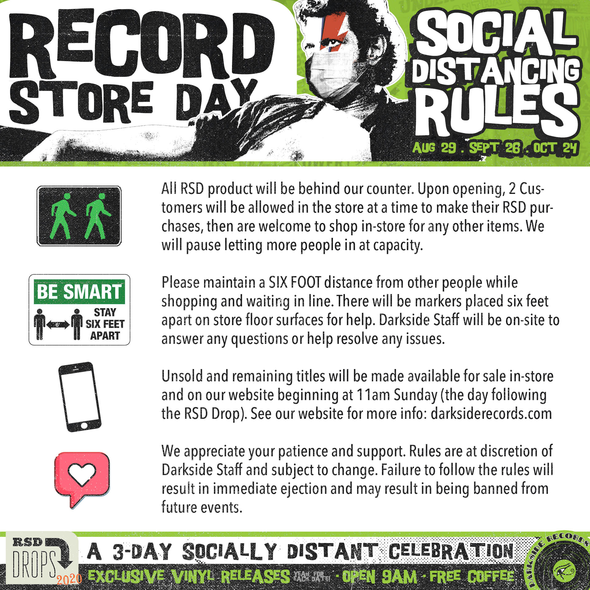 Social distancing rules for record store day and black friday at darkside records