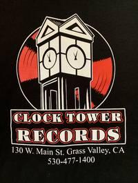 Clock Tower Records - Logo Tee - Short Sleeve, Black w/Red Logo [Large]
