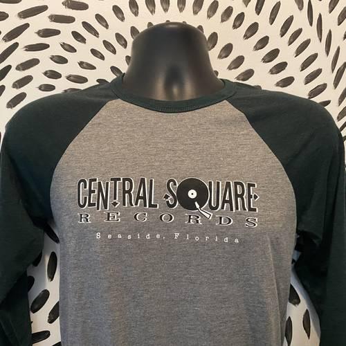 Central Square Records - CSR 3/4 SLEEVE BASEBALL TEE GREEN/GREY