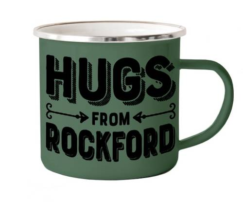 - Hugs From Rockford Enameled Camp Mug