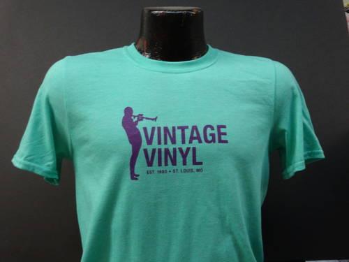 Vintage Vinyl - Vintage Vinyl Classic T-Shirt Seafoam Green w/Purple Print [L]