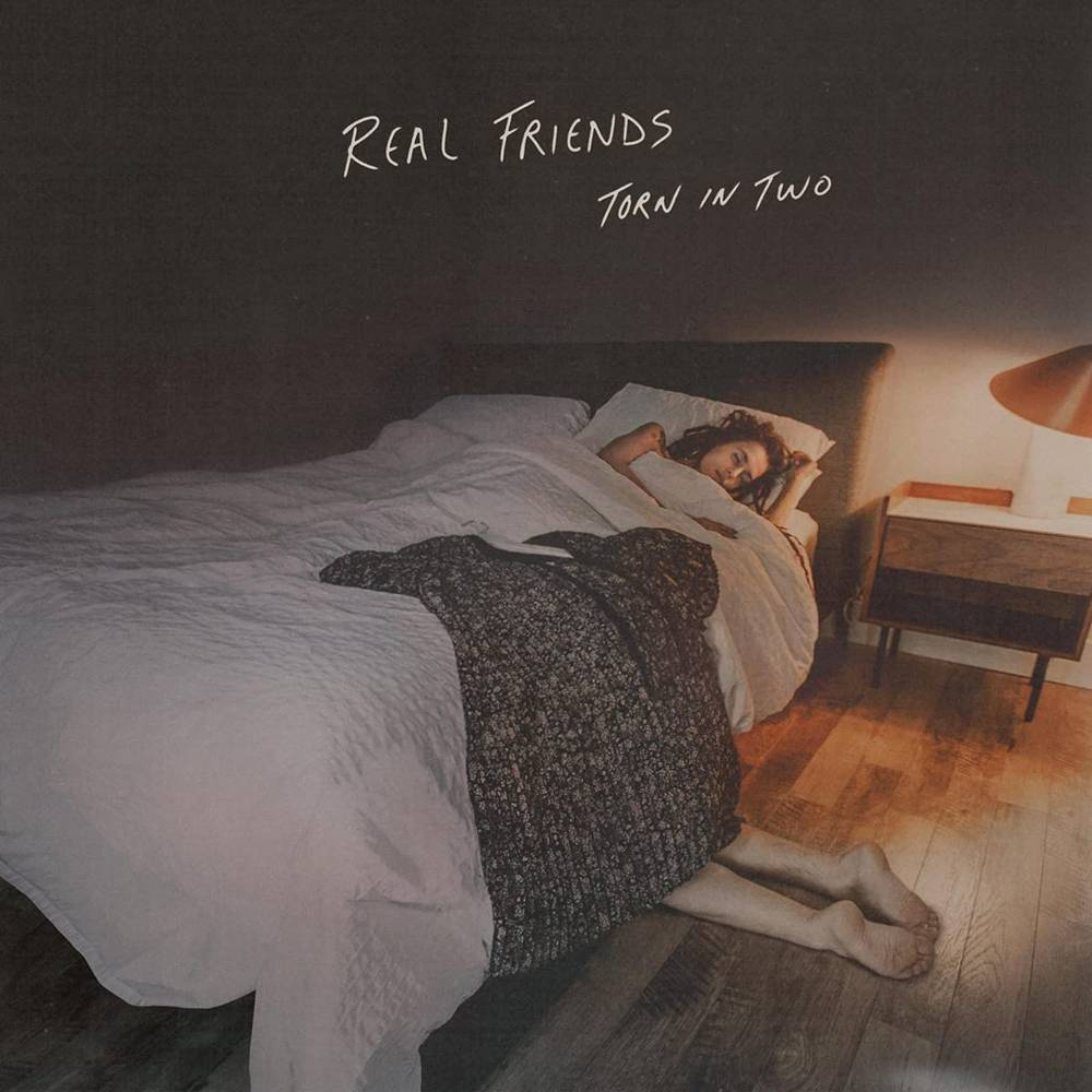 Real Friends - Torn In Two [Indie Exclusive Limited Edition Half Electric Blue/Half Doublemint with Heavy White and Baby Pink Splatter LP]