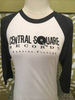 Central Square Records - CSR 3/4 SLEEVE BASEBALL TEE BLACK/WHITE