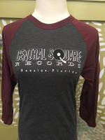 Central Square Records - CSR 3/4 SLEEVE BASEBALL TEE BURGUNDY/GREY