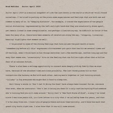 Brad Mehldau Suite April 2020 Lp Hollowbonerecords