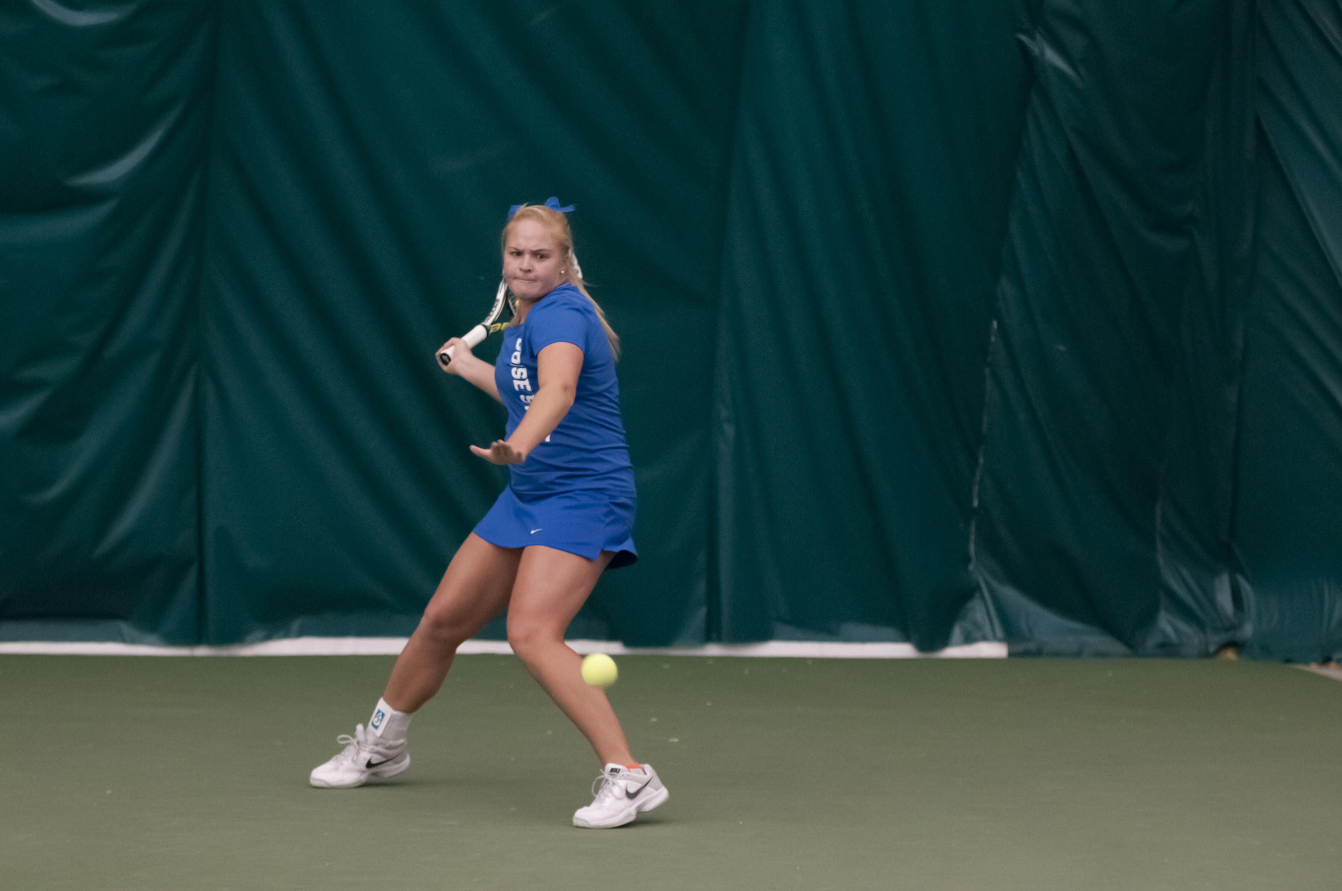 Megan LaLone clinched the match on court four.
