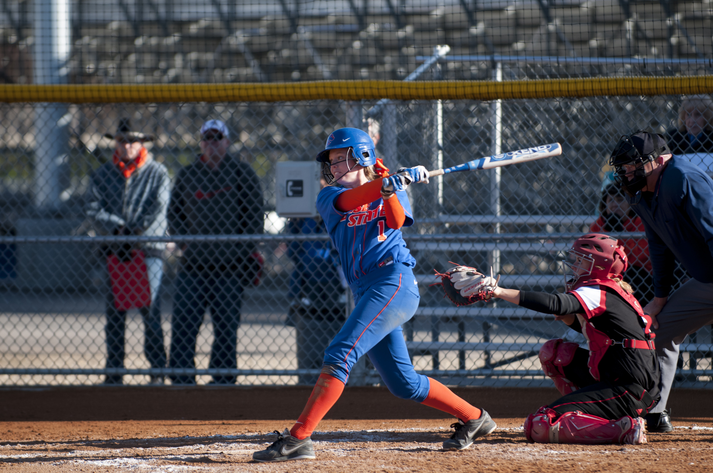 Ashley Palmer tied the school record with a 4-for-4 day at the plate
