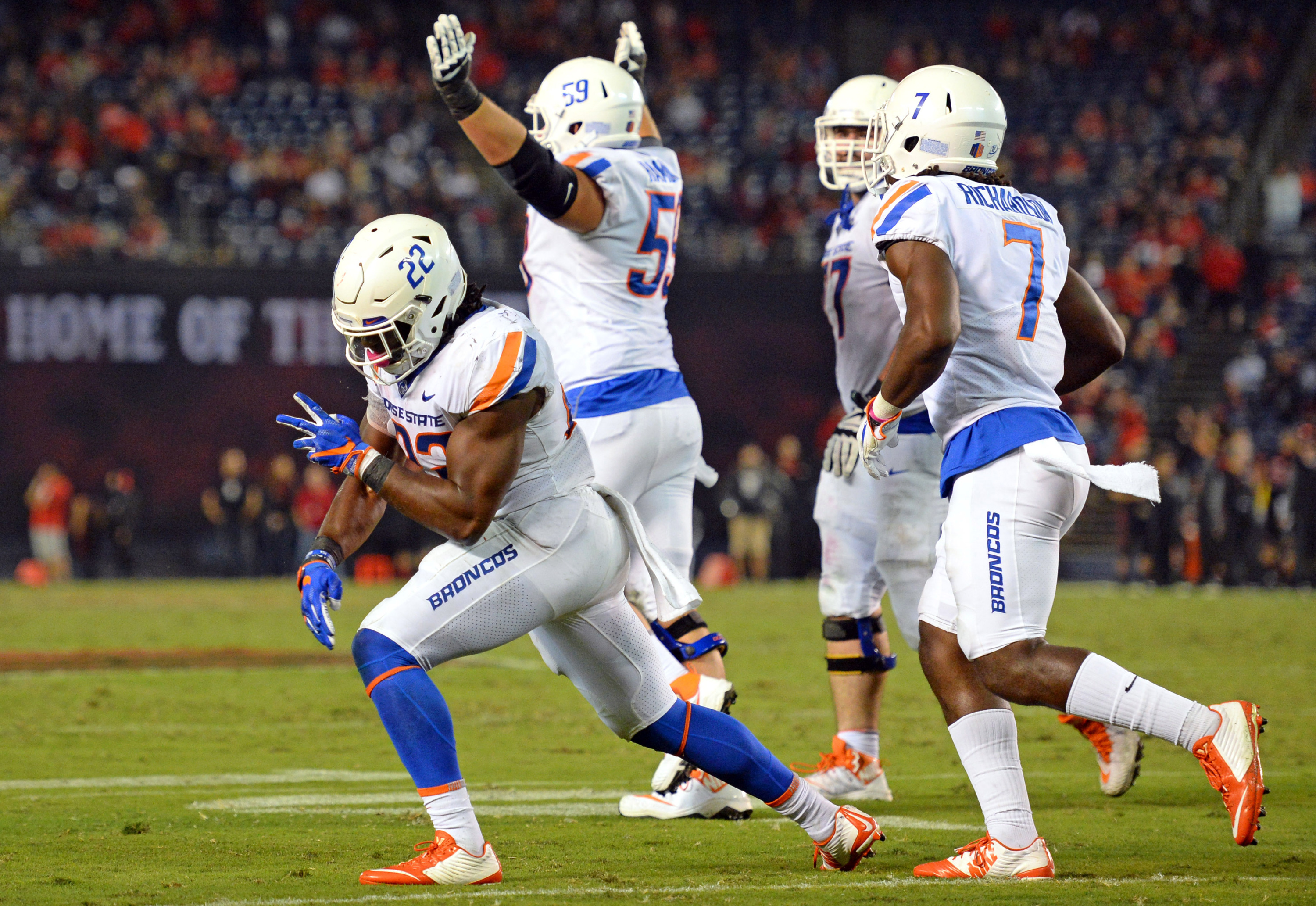Oct 14, 2017; San Diego, CA, USA; Boise State Broncos running back Alexander Mattison (22) celebrates with teammates after a fourth quarter touchdown against the San Diego State Aztecs at SDSSU Stadium. Mandatory Credit: Jake Roth-USA TODAY Sport
