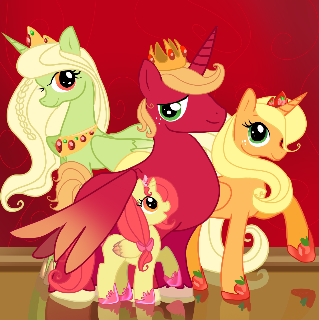 apple bloom, applejack, big macintosh, and granny smith drawn