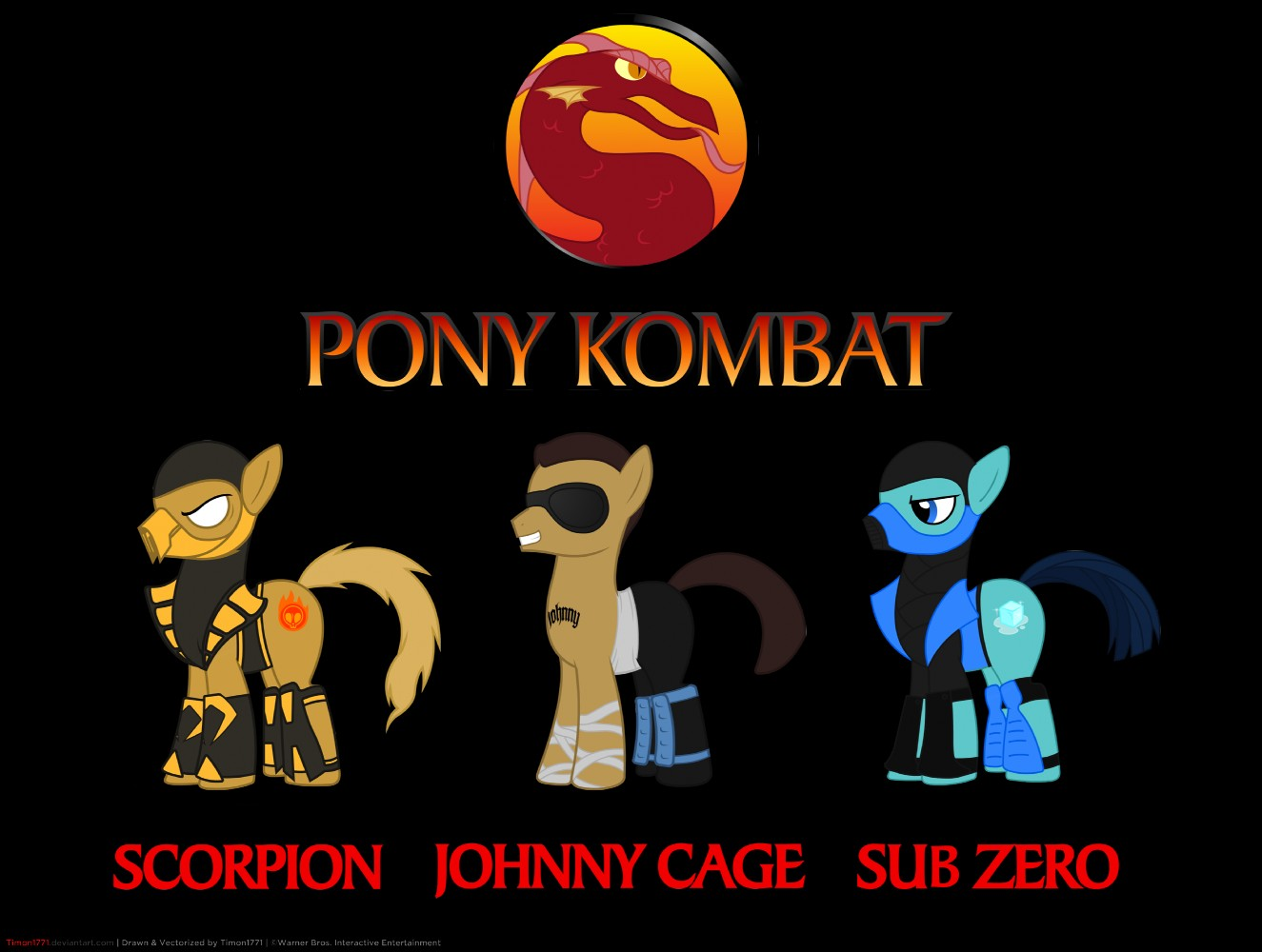 johnny cage, scorpion, and sub zero (mortal kombat) drawn ...