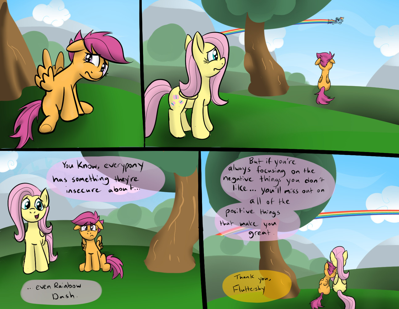 Fluttershy Rainbow Dash And Scootaloo Drawn By Sirpayne Bronibooru Rainbow dash spots scootaloo in the club house and finds her crying. bronibooru